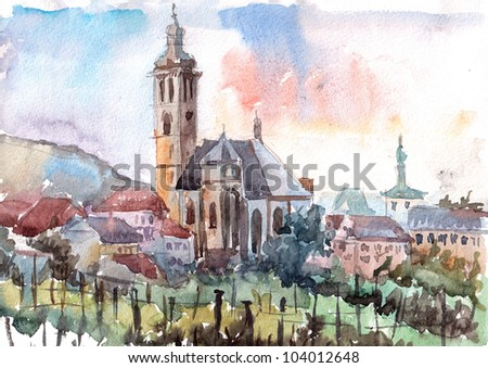Watercolor of Old Church of St. Jacob in Kutna Hora (Czech Republic)