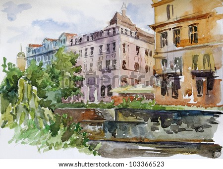 Watercolor of Old City of Karlovy Vary: streets, roofs, embankment