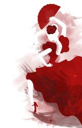 Watercolor of passionate flamenco dancer
