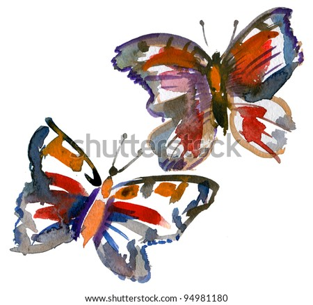 watercolor of two European Peacock butterfly - stock photo