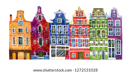 Watercolor old stone europe houses. Amsterdam street view with different houses - facades. Hand drawn cartoon  illustration isolated on white background