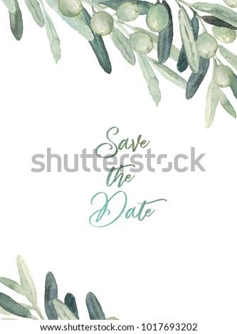 Watercolor olive floral illustration - olive branch frame / composition for wedding stationary, greetings, wallpapers, fashion, backgrounds, textures, DIY, wrapping, postcards, logo, branding, etc.