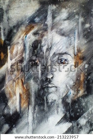 Watercolor on paper Sad image of a young girl who looks into the distance through a wet glass on a rainy autumn evening
