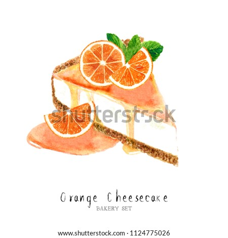 Watercolor orange cheesecake dessert. Isolated food illustration paint on white background.Watercolor Food Collection hand drawn painting.