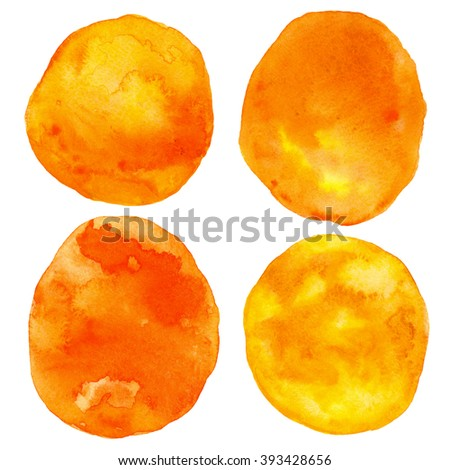 Watercolor orange circles set, paint spots isolated on white background. Hand painting on paper