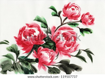 Watercolor original painting of peonies. Asian style.
