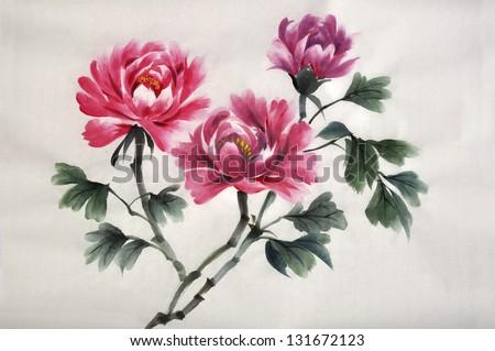 Watercolor original painting of peonies. Asian style.