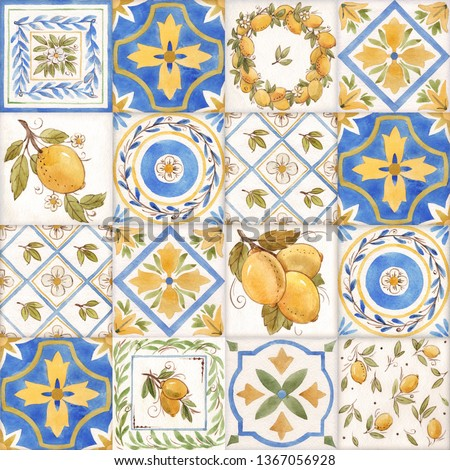 Watercolor ornament square pattern, lemons Sicily, yellow and blue print. retro wallpaper