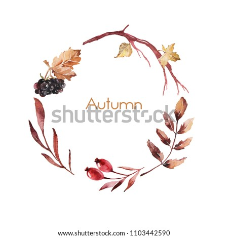 Watercolor ornament with autumn flowers and leaves for wedding invitations, holiday, greeting cards, posters, books, envelopes, photo album. Illustration on isolated  background.