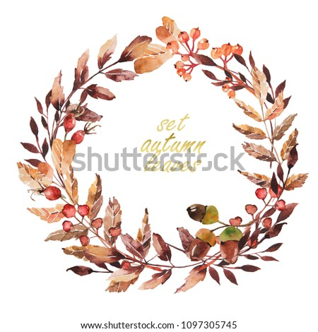 Watercolor ornament with flowers and leaves for  wedding invitations, holiday, greeting cards, posters, books,  envelopes, photo album. Illustration on isolated  background