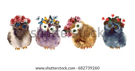watercolor owls with butterfly...