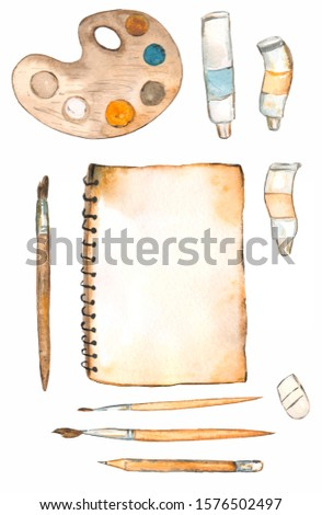 Watercolor paint attributes (paints, brushes, palette, pencil, sketchbook) on white background