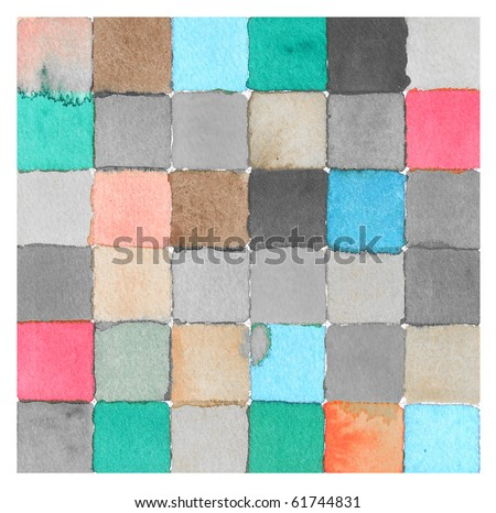 watercolor paint background checkerboard squares design