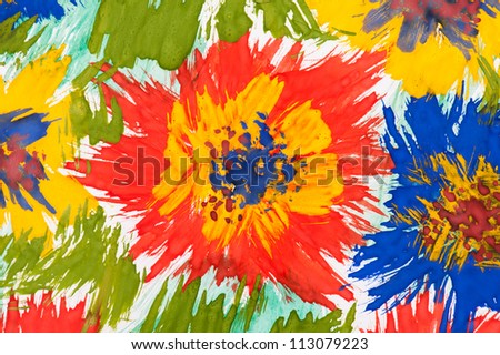 watercolor paint. color flowers as  background