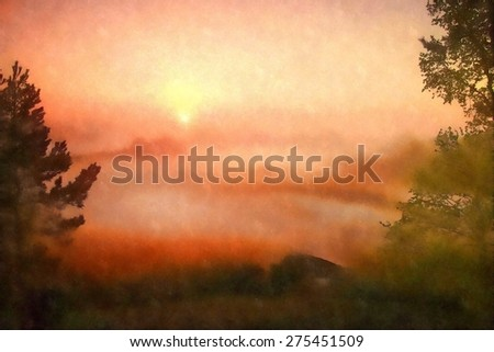 Watercolor paint. View through trees to deep misty valley within daybreak. Foggy and misty morning on the sandstone view point in national park Saxony Switzerland in Germany.