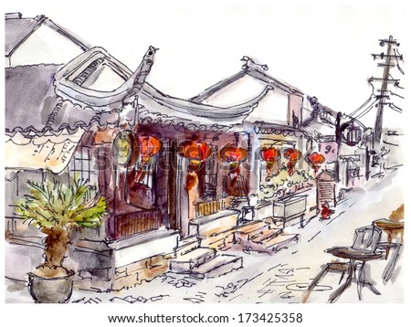 Watercolor Painted Chinese Old Town Street With Cafe And Red Lanterns In China