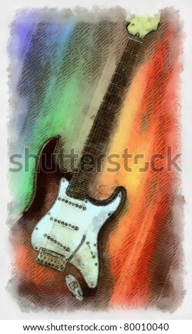Watercolor painted guitar