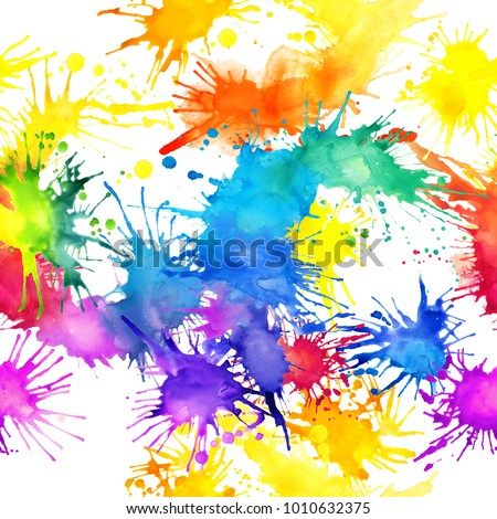 watercolor painted spots seamless pattern. Hand draw multicolored splatters abstract illustration. rainbow background.