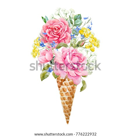 Watercolor painting an ice cream cone with flowers roses, yellow tansy, blue delphinium. summer greeting card. waffle cone with flowers