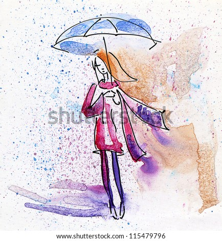 Watercolor Painting. Autumn Girl in the Rain.