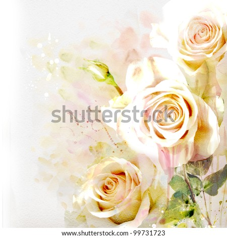 Watercolor painting bouquet of roses