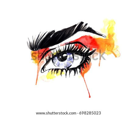 Watercolor  painting. Colorful eye