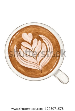 Watercolor painting drawing art Beverage drinks coffee cappuccino hot chocolate latte on white isolated background