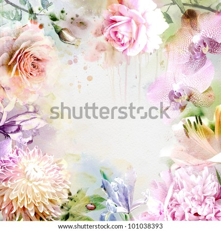 Watercolor painting, floral background