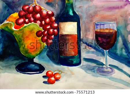 Watercolor Painting - Fruit and Wine