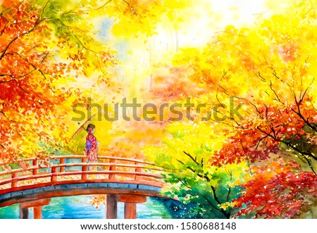 Watercolor Painting - Geisha with Maple Trees in Autumn Kyoto, Japan