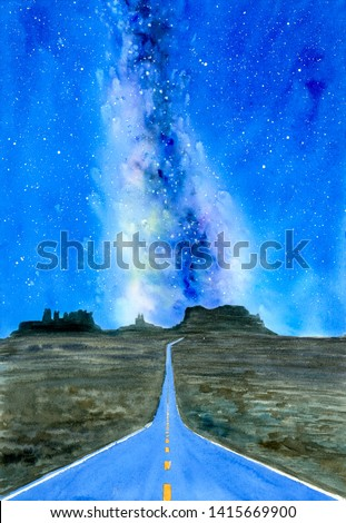 Watercolor Painting - Grand Canyon with milky way galaxy, California