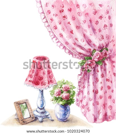Watercolor painting.  Hand drawn pink decor items in shabby style.  Old lamp, vase with flowers, vintage drape curtain and roses isolated on white.