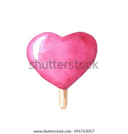 Watercolor painting heart ice cream lollipop, icecream lollipop on wooden stick, hand-painted watercolors icecream, summer dessert painted by watercolors, colorful  ice-cream, isolated lollipop