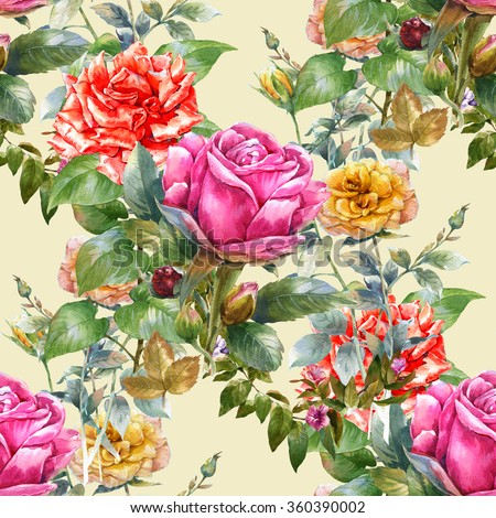 Watercolor painting illustration of rose , seamless pattern on Cream  , background