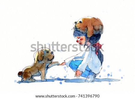 Stock Photo watercolor painting illustration set of girl in puppy hat with her dog, traditional artwork scanned