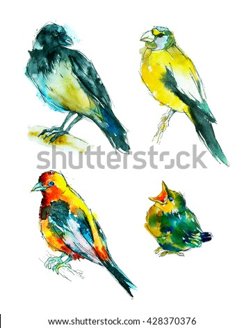 Watercolor painting. Little birds and chick on white background.