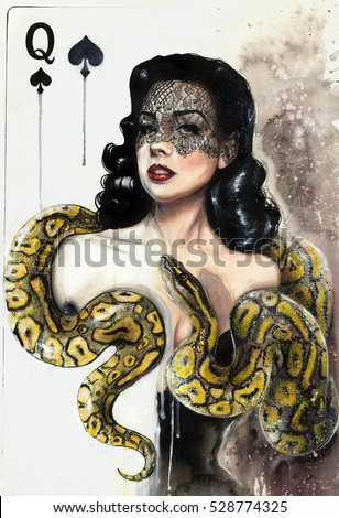 Stock Photo Watercolor painting of a beautiful brunette woman with a yellow snake as a queen playing card. Anaconda boa. Burlesque.