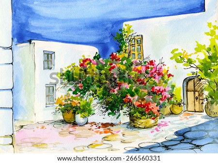 watercolor painting of a bouquet of flowers in pots on the windowsill, patio