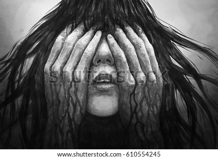 Stock Photo Watercolor painting of a crying girl.