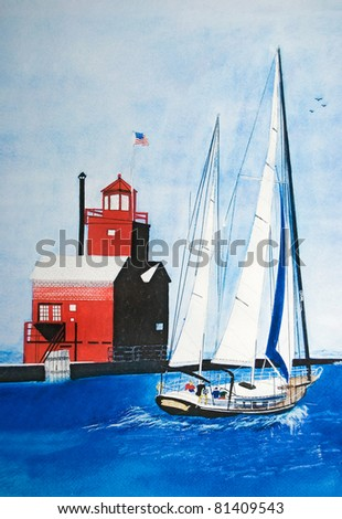 watercolor painting of a sailboat sailing red lighthouse