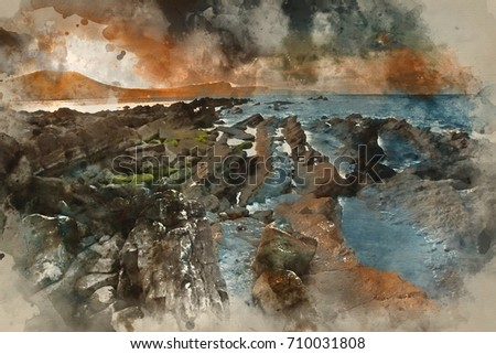 Stock Photo Watercolor painting of Beautiful sunrise landscape over Mupe Bay on Jurassic Coast in Dorset, England