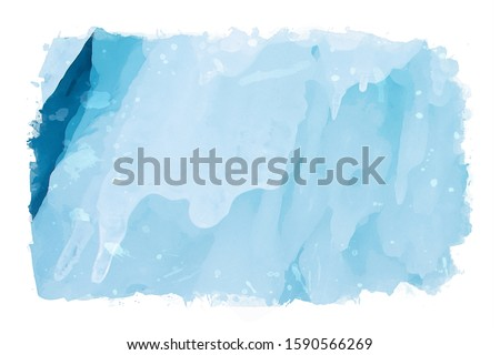 Watercolor painting of blue ice stalactite on cliff in winter season, nature background photo, frozen ice image, digital art illustration