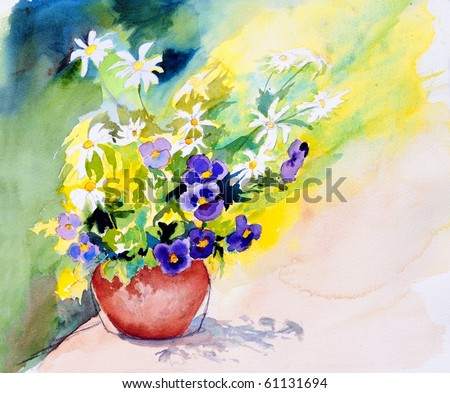 watercolor painting of flowers in pot