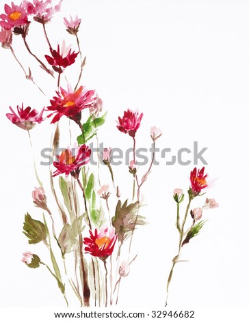 watercolor painting of flowers, use as background