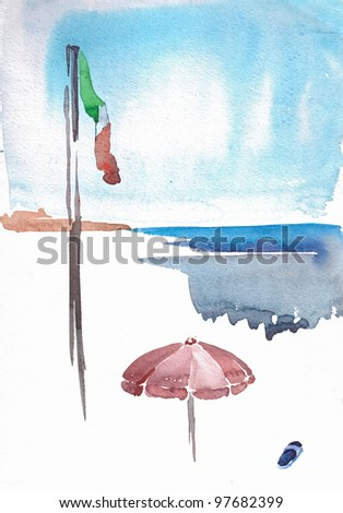 watercolor painting of italian shoreline with national flag, sun umbrella and one slipper