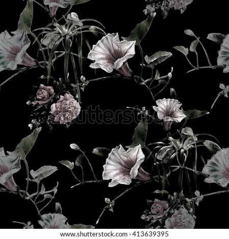 Watercolor painting of leaf and flowers, seamless pattern on dark background,
