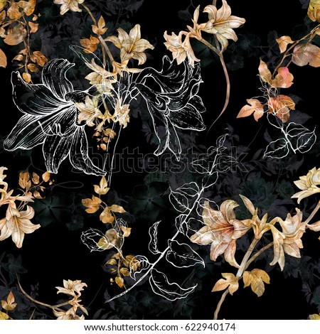 Watercolor painting of leaf and flowers, seamless pattern on dark background