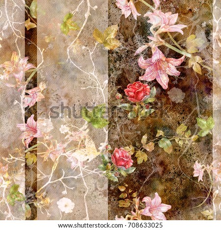 Watercolor painting of leaf and flowers, seamless pattern on dark,Brown background
