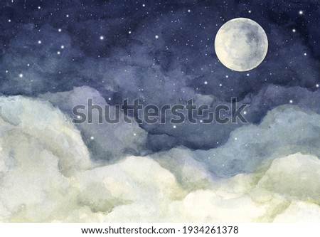 Watercolor painting of night sky with full moon and shining stars. Foto stock ©