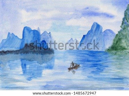 Watercolor painting of peaceful image of calm landscape with vibrant blue sky, mountains, sea and fisherman boat. Serenity background. Seascape drawing for calming mind, meditation, relaxation.